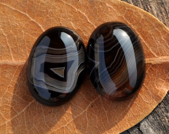 Pair Stripe Agate Cabochon , Black and White, Earrings , Semiprecious stone, Jewelry making Supplies,Small,18x13x6mm