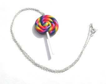 Lolly Pop Necklace - Colourful Candy Necklace - Sweetie Jewellery - Lolly Necklace