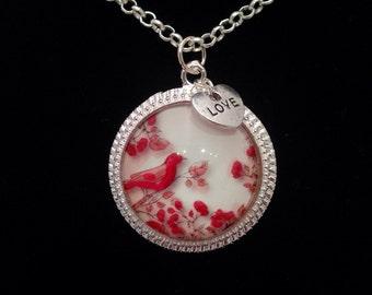 Pink love bird necklace