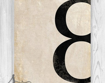 Number Art Print, Numberolgy Print, Room Decor, Vintage Number, Nursery Wall Art, Wall Art, Number 8, Eight