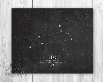 LEO Art Print, Zodiac Home Decor, Constellation Art Print, Chalkboard Style Art, Astrology Art Print, Home Decor, Wall Art Print