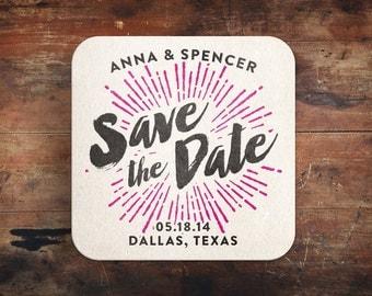 Radical Love / Letterpress Save the Date Coaster
