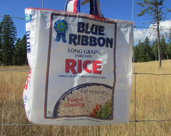 Upcycled Feedbag Tote. Long Grain Rice Handmade in Kalispell, Montana USA. FREE USA Shipping