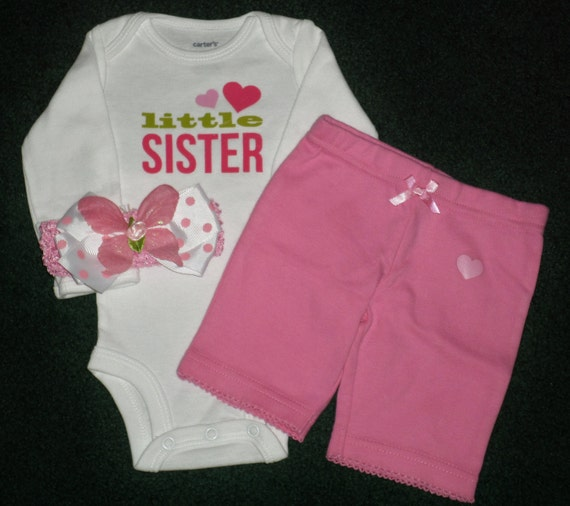 Baby Shower Gifts For Sister ~ Little sister newborn baby girl gift set pink and white