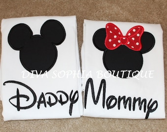 Daddy and Mommy Mickey and Minnie Shirts Set - Disney Trip Shirts