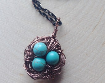 Turquoise Copper Birdnest Necklace