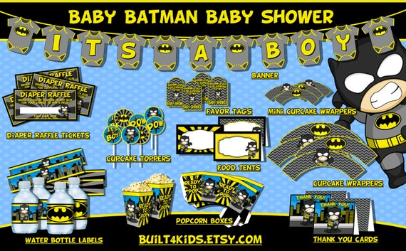 baby batman baby shower party package instant download decorations
