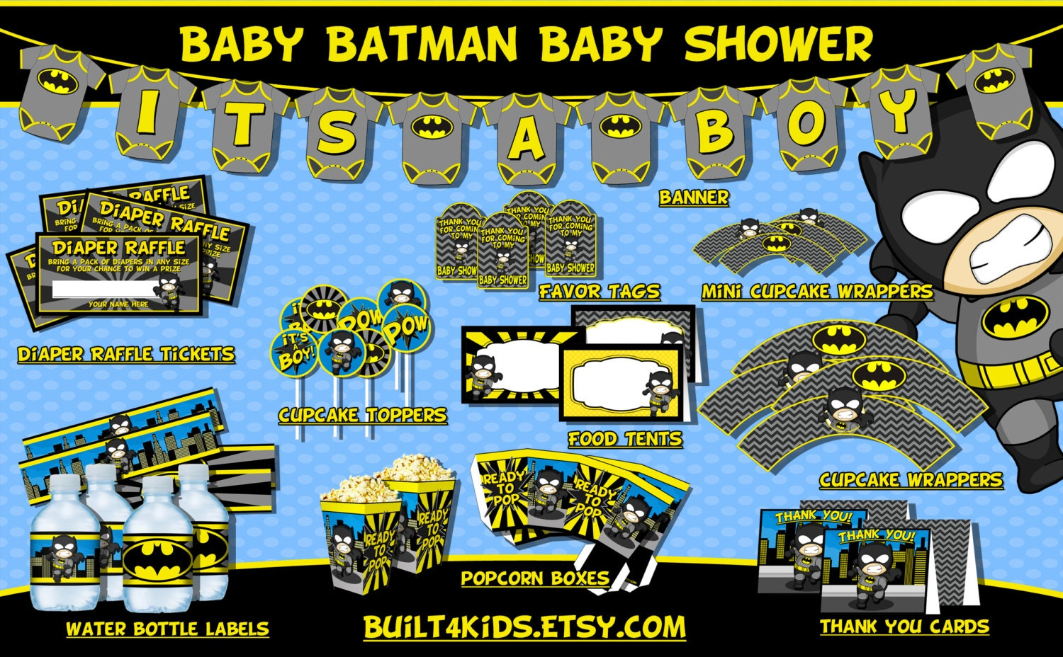 baby batman baby shower party package instant download