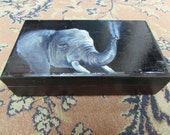 Elephant Smoking Handpainted Onto Wooden Box