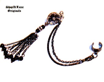 Roaring Twenties Style Ear Cuff With Dual Chains - Exclusive Design By SHOPATLUXE