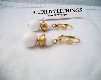 Vintage White Beaded Leverback Earrings Retro
