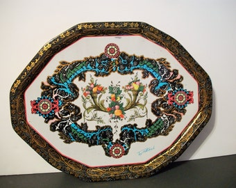Vintage Daher Decorated Ware Metal Fruit Serving Tray English Decor Country Chic