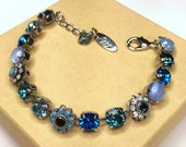 Swarovski crystal tennis bracelet, blue crystal bracelet, floral, Made with CRYSTALLIZED™ - Swarovski Elements, siggy design