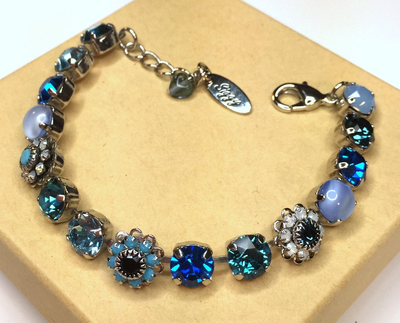 swarovski crystal tennis bracelet blue crystal by siggyjewelry. Black Bedroom Furniture Sets. Home Design Ideas