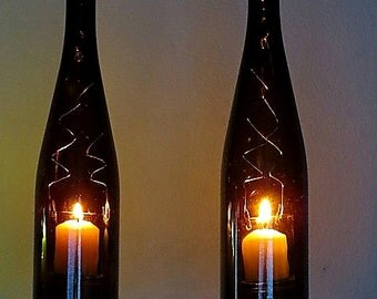 Two Upcycled wine bottle hurricane candle holder, outdoor lighting, Recycled Wine Art, Hanging hurricane lamp