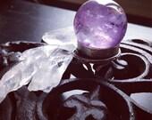 Large Amethyst Crystal  Ball Ring - Adjustable Ring