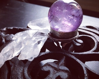Large Amethyst Crystal  Ball Ring - Adjustable Ring