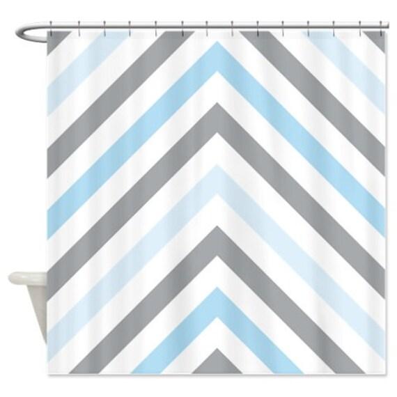 Chevron Shower Curtain Modern Grey Light Blue And White