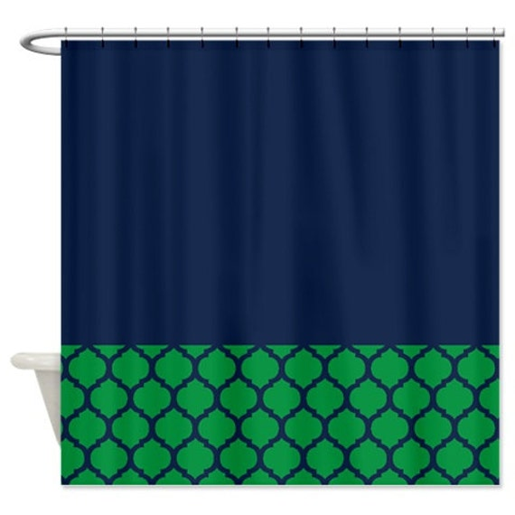 Quatrefoil Shower Curtain Navy Blue And Green Pattern Or