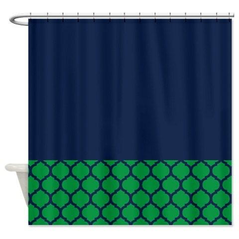 quatrefoil shower curtain navy blue and by gatherednestdesigns