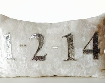 Personalized Date Pillow, Date Pillow Cover, Wedding Date Pillow, Throw Pillows, Ivory Velvet Silver Sequin Pillow, 12x20, Anniversary Gift