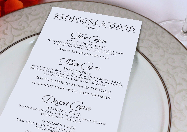 Wedding Reception Dinner Menu Modern Menu Card Monogram