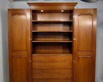 No. 570 Armoire in Cherry, Sauterne Finish, Standard Distressing