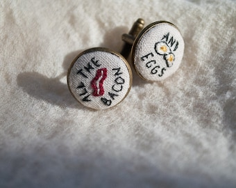 Hand Embroidered Ron Swanson Bacon and Eggs Cuff Links
