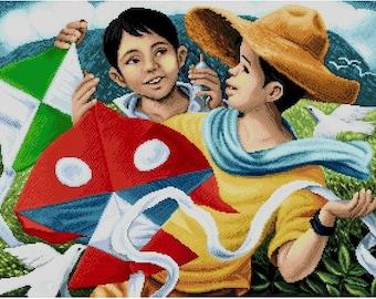 Mga Saranggola (Kites) Filipino Art - Cross Stitch Pattern