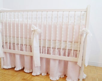 Pink Crib  bedding, 3 pcs - light pink with ruffle ,gathered skirt , 4 side bumper and fitted sheet - Girl Nursery bedding