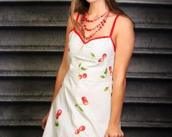 50s cherry print swing dress -vintage rockabilly retro pin up cherry print dress