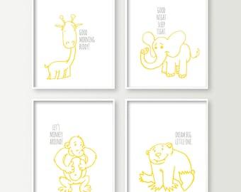 Animal Nursery Art - Baby Boy Nursery Decor - Safari or Jungle Themed Nursery Wall Art Prints - Choose Colors - Monkey Giraffe Elephant Bear