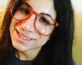 Vintages 1980s Women's Round Pink Eyeglasses Frame #Graduate (WRT-11)