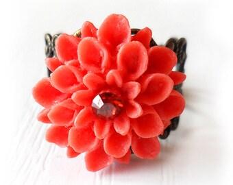 Red Chrysanthemum Flower Ring - Coral Red Swarovski Rhinestone Flower Ring - Adjustable filigree bronze ring