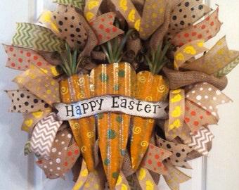 Easter Wreath/ Carrot Wreath/ Burlap Easter Wreath/ Happy Easter Wreath/ Easter Door Decor