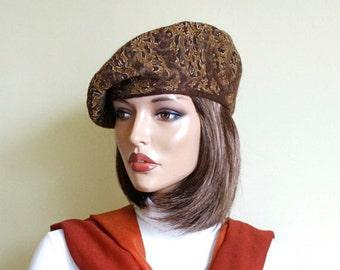 Multicolor beret felted brown beret Nunofelt nuno felt beret French beret Silk wool beret ,Designer beret