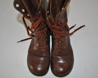 US Army Boots, Boots, Slipknot, World War Two, Cap Toe, M1948, Russet, Brown, Leather, Men, Size, 6, Wide, Women, 8, Wide