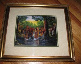 "HARRIET TUBMAN PRINT Underground Railroad Framed In Goldtone Frame 15"" x 17"""