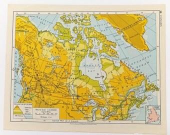 Canada Map, 1961 Map, Vintage map, Map of Canada, home decor, travel souvenir