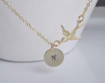 Bird Necklace, Gold Initial Necklace, Gifts for Girls, Bridesmaid Gifts, British Seller UK, Mom Gift, BFF, Gold Necklace, Christmas Gifts