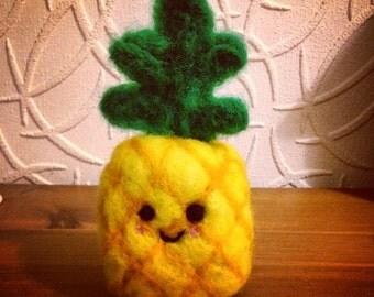Cute Food Plushie - Pineapple, Needle Felted Kawaii Pineapple