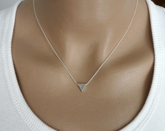 Triangle necklace, Sterling silver necklace, Geometric necklace, Modern necklace, Geometric jewelry