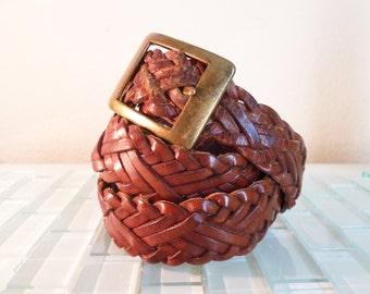 Wide Braided Brown Leather Belt Brass Belt Buckle 34