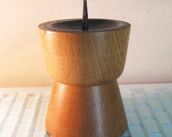 1950s Eames Era Wood Pillar Candle Holder
