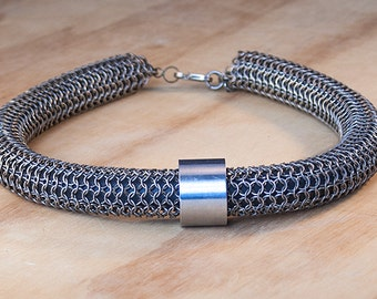 Chainmaille Sterling Silver and Titanium Necklace, Thick Necklace, Medieval Silver Necklace, Tribal Necklace, Thick Silver Necklace