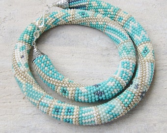 statement necklace crochet bead necklace chunky necklace  turquoise unique bib necklace for women