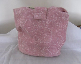 Hobo Sling Handbag Purse In Pink and Cream Paisley Denim