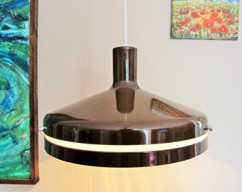 1970's Lightolier 'Editor's Lamp' Spun Aluminum UFO Flying Saucer Light Pendant