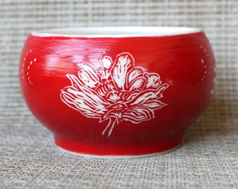 Red and White Porcelain Bowl - Wheel Thrown