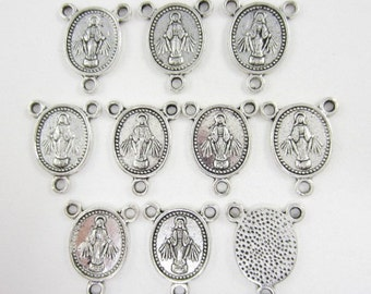10pcs Rosary Center Madonna Silver Plated (F1677)